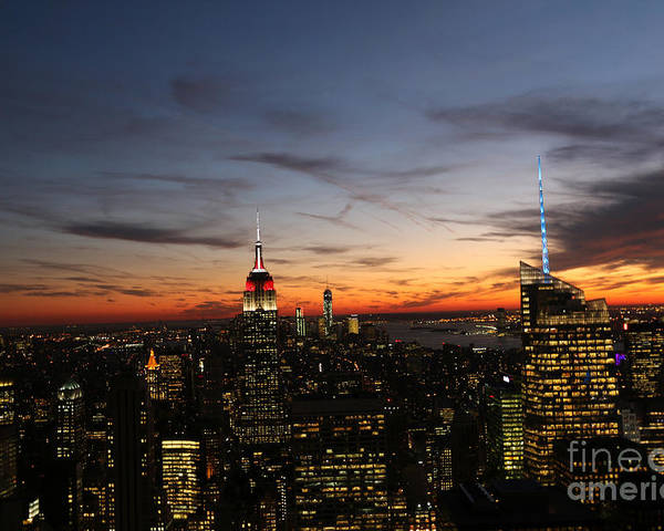 Rockefeller Center Poster featuring the photograph Nyc Sunset by Steven Spak