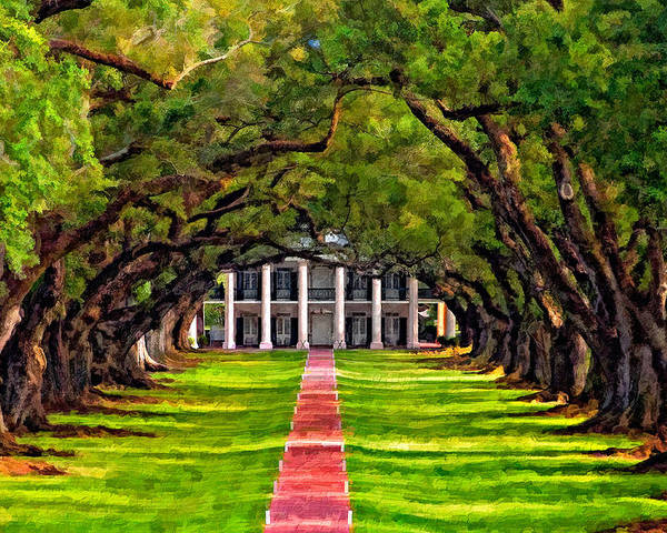 Oak Alley Plantation Poster featuring the photograph Oak Alley Paint Version by Steve Harrington