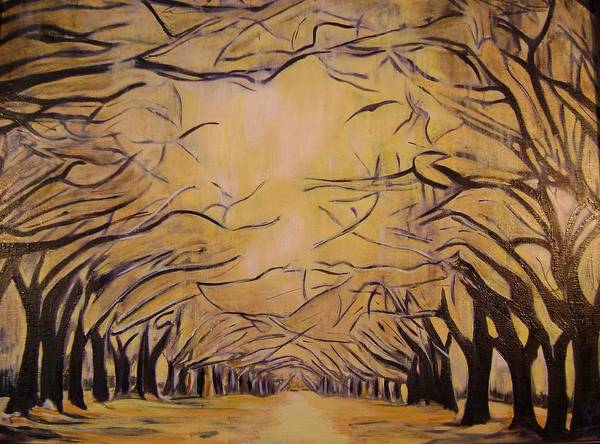Mystical Poster featuring the painting Oak Grove by Therese Legere