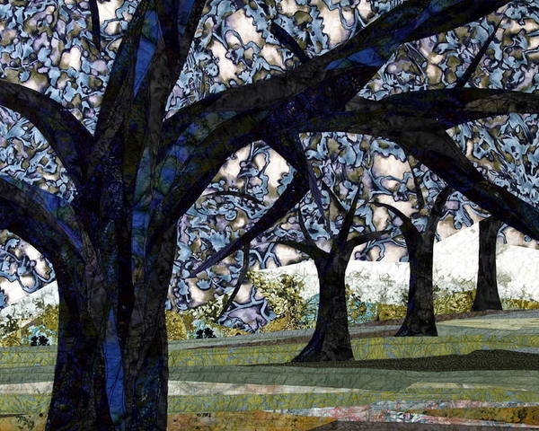 Trees Poster featuring the tapestry - textile Oak Veiling by Linda Beach