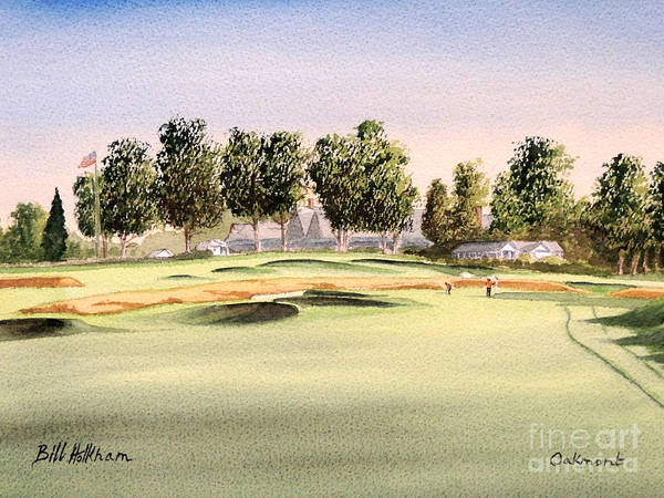 Oakmont Golf Course Poster featuring the painting Oakmont Golf Course 14th by Bill Holkham