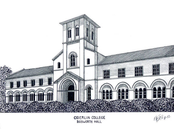 Oberlin College Bosworth Hall Drawing Poster featuring the drawing Oberlin College by Frederic Kohli