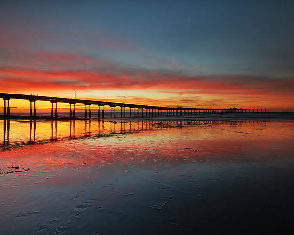 Larry Marshall Poster featuring the photograph Ocean Beach California Pier 3 by Larry Marshall