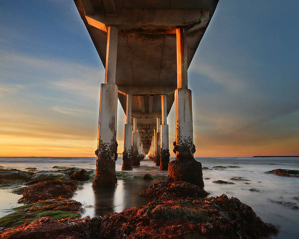 Larry Marshall Poster featuring the photograph Ocean Beach California Pier by Larry Marshall