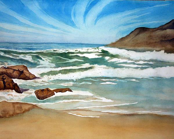 Rick Huotari Poster featuring the painting Ocean Side by Rick Huotari