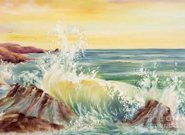 Water Poster featuring the painting Ocean Waves II by Summer Celeste