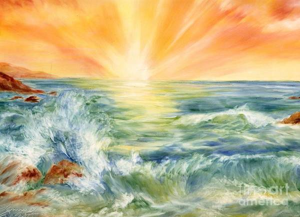 Sunset Poster featuring the painting Ocean Waves IIi by Summer Celeste