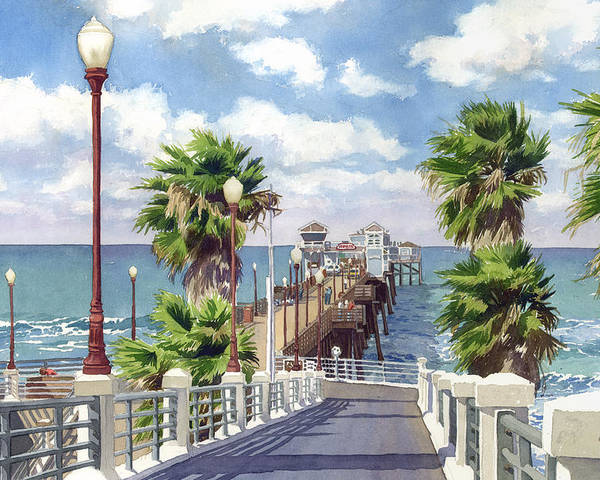 Oceanside Poster featuring the painting Oceanside Pier by Mary Helmreich