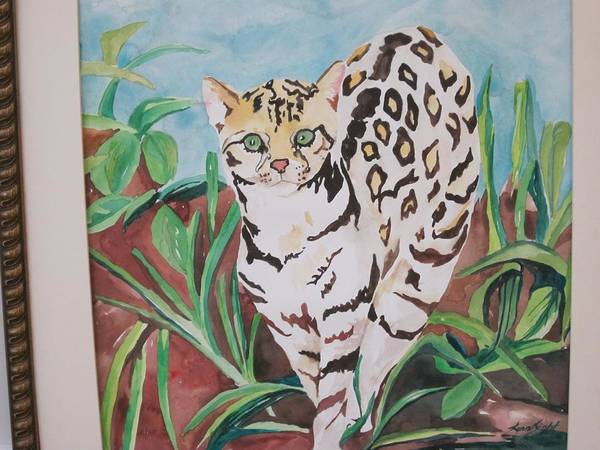 Animal Poster featuring the painting Ocelot by Lynnrose Light