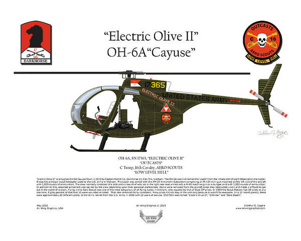 Helicopter Poster featuring the digital art Oh-6a Electric Olive II Loach by Arthur Eggers