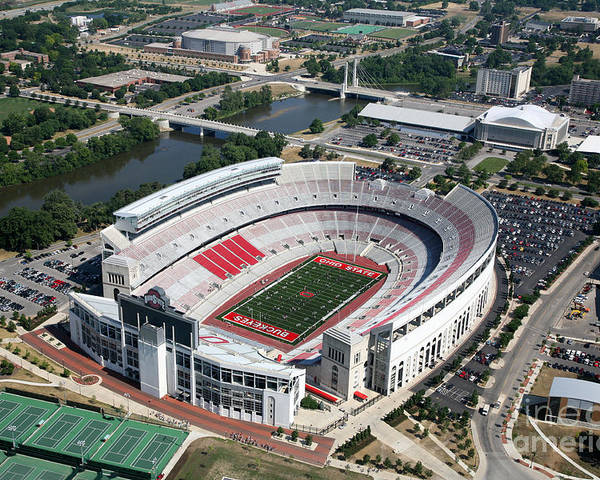 Columbus Poster featuring the photograph Ohio Stadium Aerial by Bill Cobb