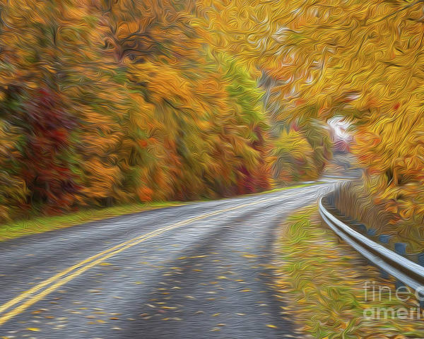 Country Road Poster featuring the photograph Oil Painted Country Road by Brian Mollenkopf