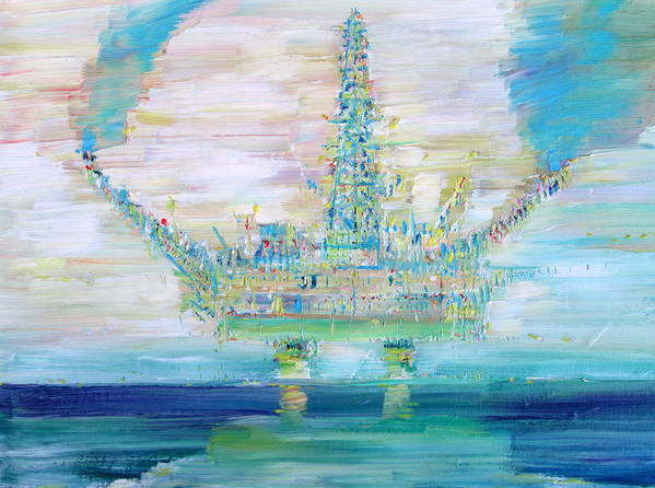 Oil Poster featuring the painting Oil Platform by Fabrizio Cassetta