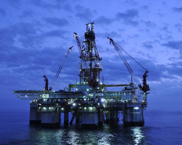 Oil Rig Poster featuring the photograph Oil Rig At Twilight by Bradford Martin