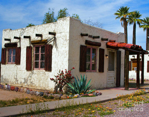 Arizona Poster featuring the painting Old Adobe Cottage by Brian Lambert