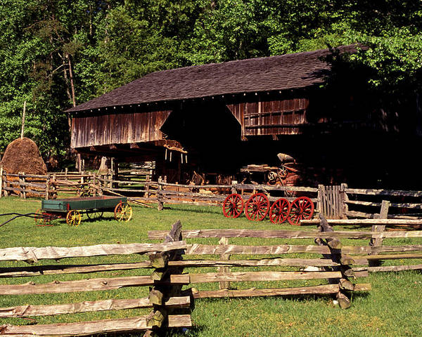Barn Poster featuring the photograph Old Appalachian Farm Cantilevered Barn by Paul W Faust - Impressions of Light