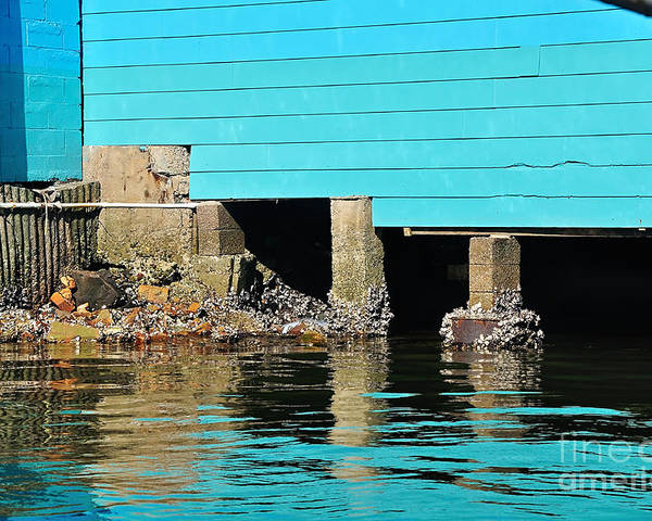 Photography Poster featuring the photograph Old Aqua Boat Shed With Aqua Reflections by Kaye Menner