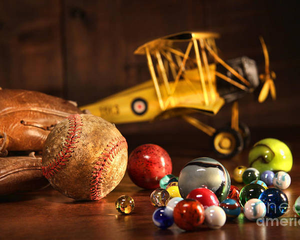 Aged Poster featuring the photograph Old Baseball And Glove With Antique Toys by Sandra Cunningham