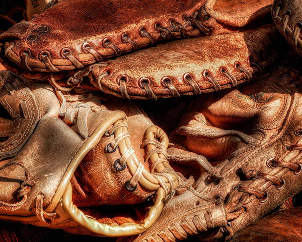 Baseball Poster featuring the photograph Old Baseball Gloves by Bill Wakeley