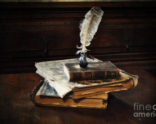 Old Books And A Quill Poster featuring the photograph Old Books And A Quill by Mary Machare