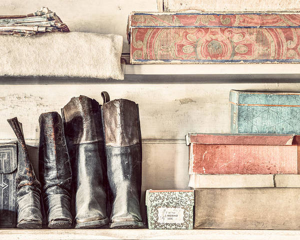 19th Century Poster featuring the photograph Old Boots And Boxes - On The Shelves Of A 19th Century General Store by Gary Heller