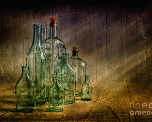 Art Poster featuring the photograph Old Bottles by Veikko Suikkanen