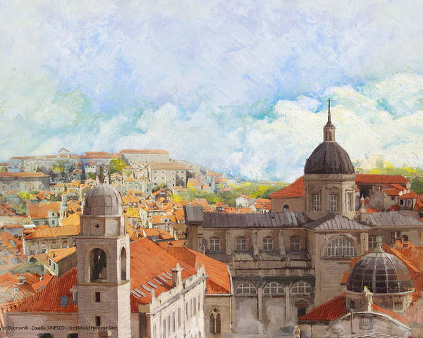 Museum Poster featuring the painting Old City Of Dubrovnik by Catf