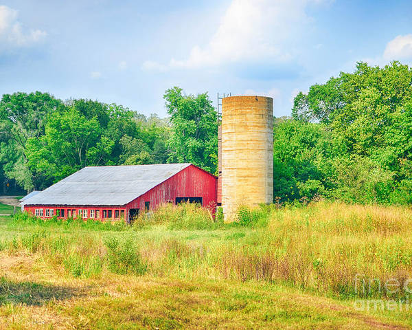 Vintage Barn Poster featuring the photograph Old Country Farm And Barn by Peggy Franz