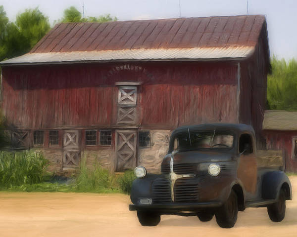 Old Poster featuring the painting Old Dodge Truck by Jack Zulli