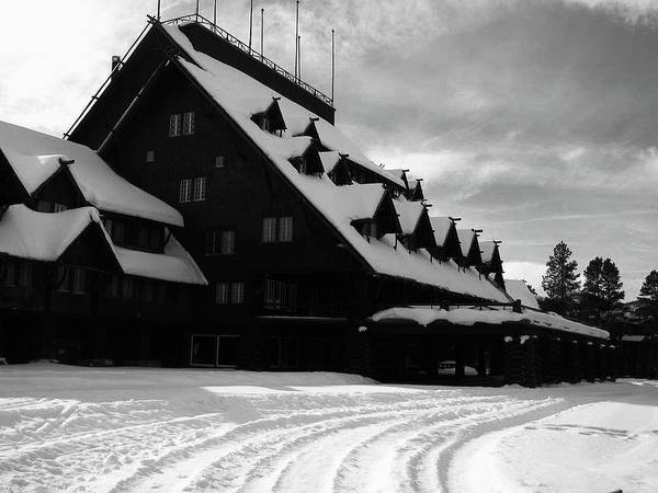 Poster featuring the photograph Old Faithful Inn In Winter by Don F Bradford