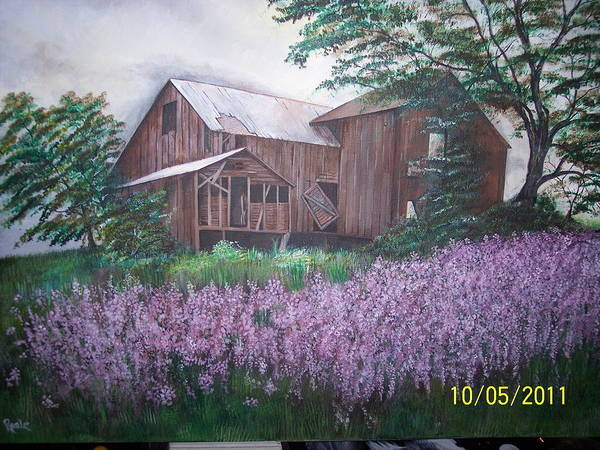 Lanscape Poster featuring the painting Old Farm house by Jim Reale