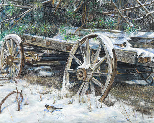 Birdseye Art Studio Poster featuring the painting Old Farm Wagon by Nick Payne