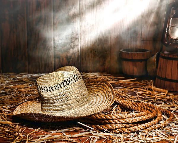 Ranch Poster featuring the photograph Old Farmer Hat And Rope by Olivier Le Queinec