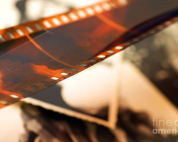 35mm Poster featuring the photograph Old Film Strip And Photos Background by Michal Bednarek