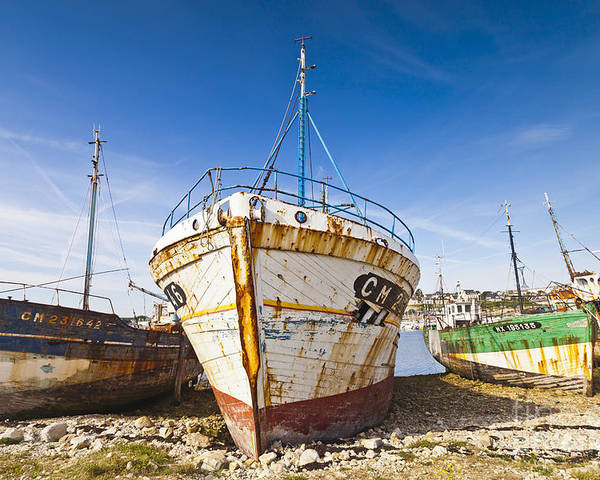 Camaret Poster featuring the photograph Old Fishing Boats Camaret-sur-mer Brittany France by Colin and Linda McKie