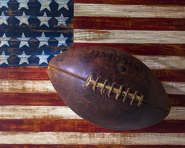 Football Poster featuring the photograph Old Football On American Flag by Garry Gay