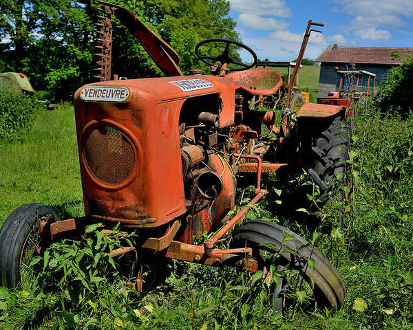 Old Tractor Poster featuring the photograph old french tractor Vendeuvre by Patrick Pestre