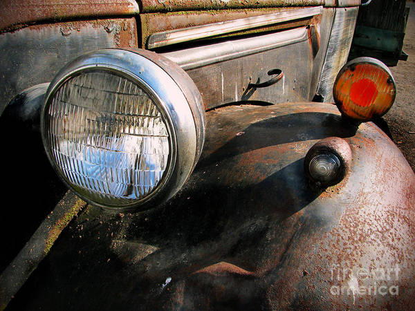 Old Trucks Poster featuring the photograph Old Headlights by Colleen Kammerer