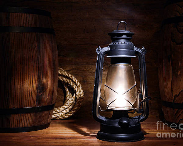 Kerosene Poster featuring the photograph Old Kerosene Lantern by Olivier Le Queinec