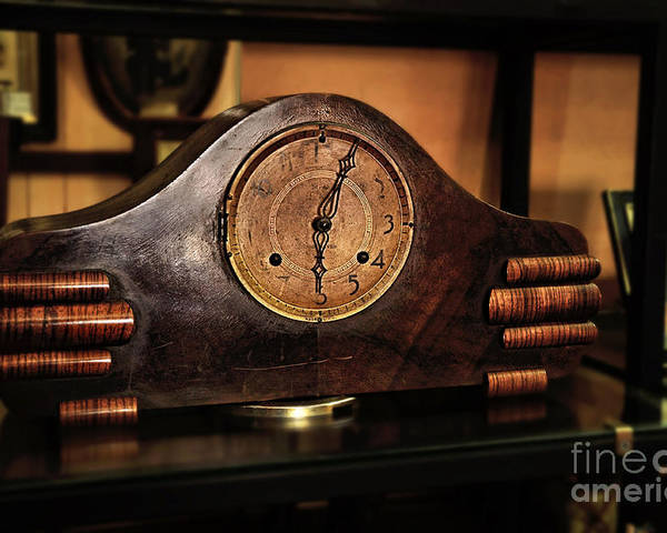 Photography Poster featuring the photograph Old Mantelpiece Clock by Kaye Menner