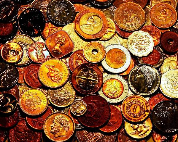 Coins Poster featuring the photograph Old Metal by Benjamin Yeager