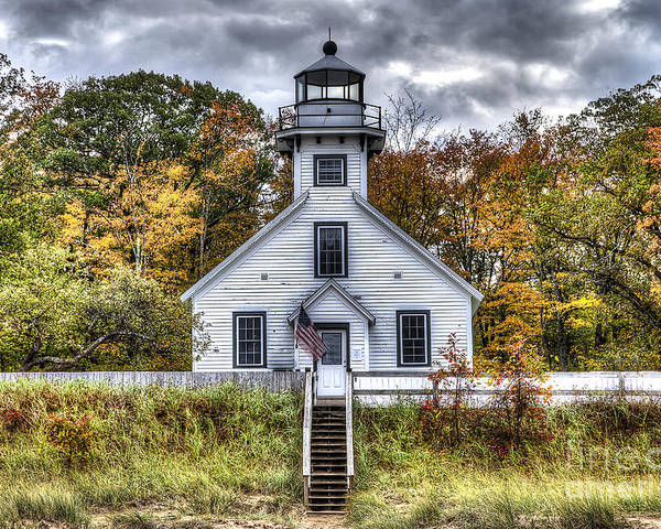 Old Mission Poster featuring the photograph Old Mission Lighthouse In Fall by Twenty Two North Photography