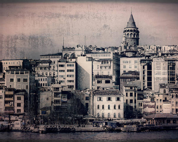 Galata Tower Poster featuring the photograph Old New District by Joan Carroll
