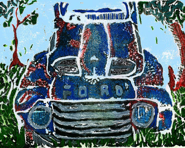 Car Poster featuring the digital art Old Rusty Ford by Jame Hayes