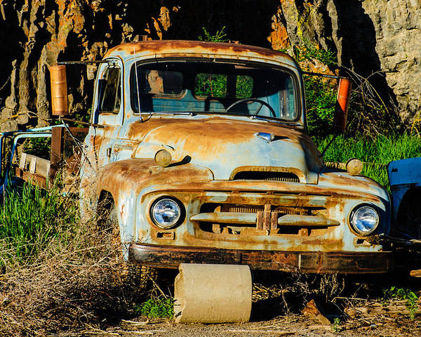 Farm Truck Poster featuring the photograph Old Rusty International Flatbed Truck by Steve G Bisig