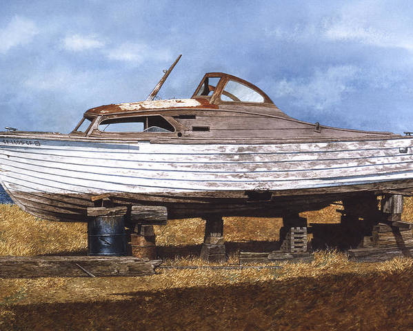 Boats Poster featuring the painting Old Salt by Tom Wooldridge