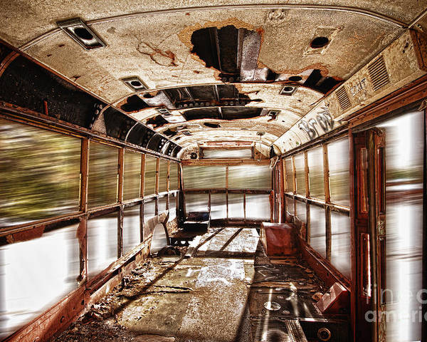 'school Bus' Poster featuring the photograph Old School Bus In Motion Hdr by James BO Insogna