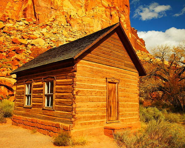 Schools Poster featuring the photograph Old Schoolhouse Near Capital Reef Utah by Jeff Swan