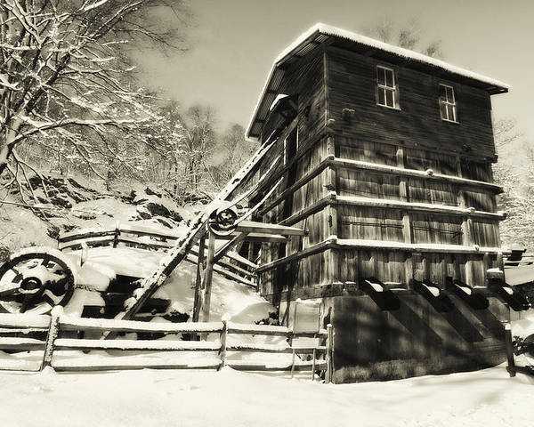 Scenic Poster featuring the photograph Old Snow Covered Quarry Mill by George Oze