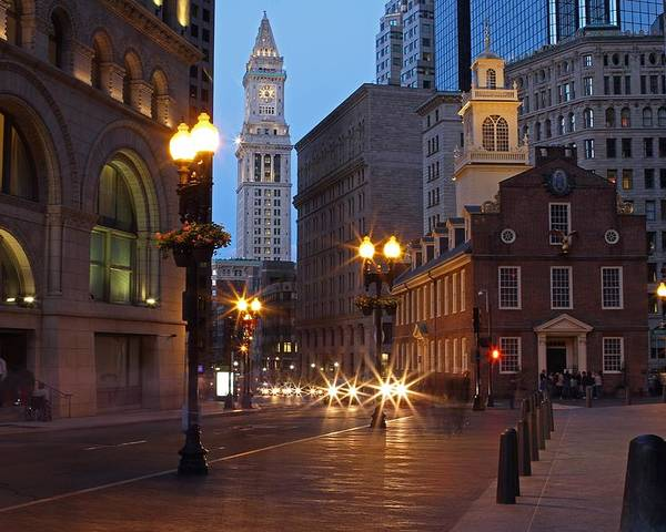 Boston Poster featuring the photograph Old State House And Custom House In Boston by Juergen Roth